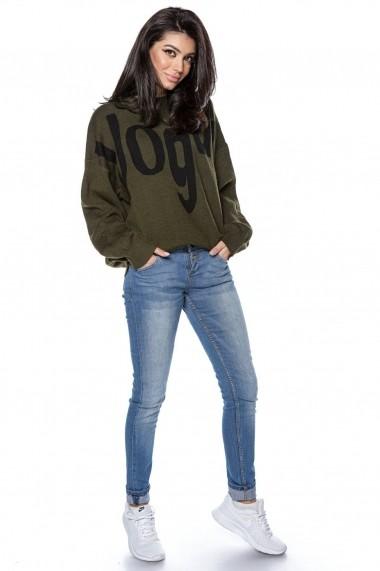 Pulover Roh Boutique tricotat, oversize, cu imprimeu Vogue - kaki - ROH - BR2298 kaki
