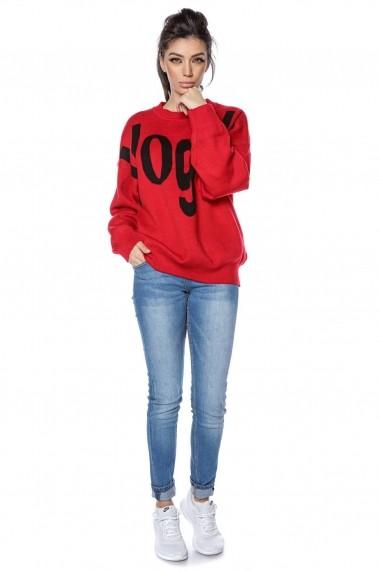 Pulover Roh Boutique tricotat, oversize, cu imprimeu Vogue - Rosu - BR2300 rosu