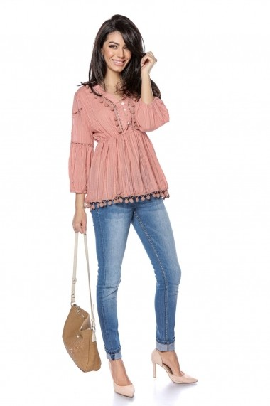 Bluza Roh Boutique roz din bumbac, stil baby doll - ROH - BR2306 roz