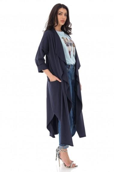 Pardesiu Roh Boutique lung din jersey - Navy - ROH - JR516 bleumarin