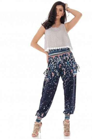 Pantaloni largi Roh Boutique harem, cu imprimeu abstract TR366 bleumarin