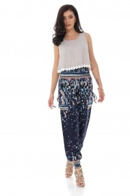 Pantaloni largi Roh Boutique harem, cu imprimeu abstract TR366 bleumarin