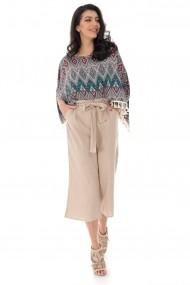 Pantaloni largi Roh Boutique culotte, cu cordon in talie - STONE - ROH - TR368 stone