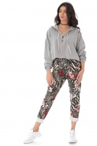 Pantaloni largi Roh Boutique casual cu imprimeu TR385 animal print