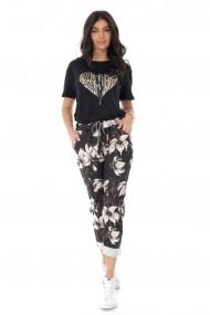 Pantaloni largi Roh Boutique casual cu imprimeu - negru-crem - ROH - TR388 black