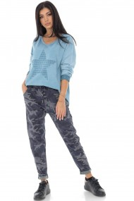 Pantaloni largi Roh Boutique armi, cu aspect sifonat TR400 albastru