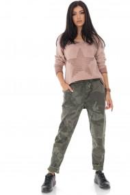 Pantaloni largi Roh Boutique armi, cu aspect sifonat TR401 kaki