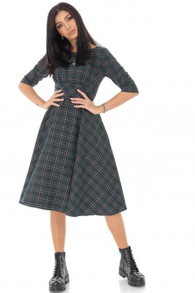 Rochie midi Roh Boutique tartan, in stilul anilor 50 DR4205 verde