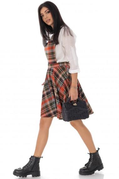 Sarafan Roh Boutique trendi, in caro DR4207 caramiziu