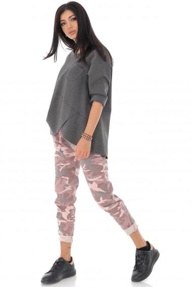 Bluza Roh Boutique chic, cu tiv asimetric, Gri - ROH - BR2329 gri