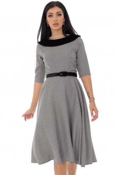 Rochie midi Roh Boutique in caro, cu guler si curea din catifea DR4210 negru, alb