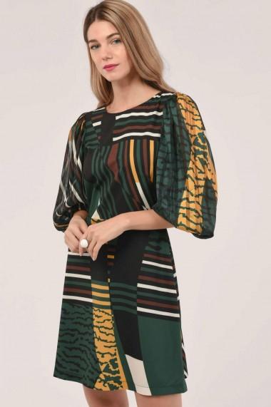 Rochie scurta Roh Boutique verde cu maneci bufante - ROH - DR4225 verde