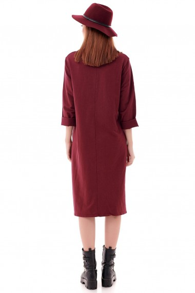 Rochie midi Roh Boutique trendy, oversize, din bumbac DR4221 grena