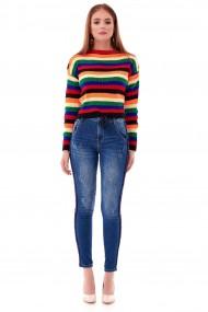 Pulover Roh Boutique de dama crop, cu dungi multicolore - ROH - BR2337 multicolour
