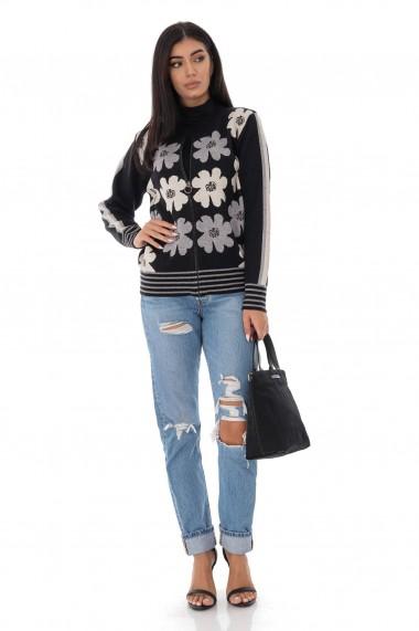 Cardigan Roh Boutique tricotat cu imprimeu Daisey - Negru-Gri - ROH - BR2338 negru|gri