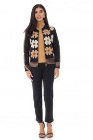 Cardigan Roh Boutique tricotat cu imprimeu Daisey - Negru-Camel - ROH - BR2339 negru|camel