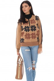 Cardigan Roh Boutique tricotat cu imprimeu Daisey - Camel-Bej - ROH - BR2340 camel|bej