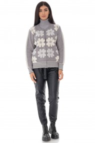 Cardigan Roh Boutique tricotat, cu imprimeu Daisey - Gri-Alb - ROH - BR2342 gri|alb