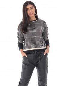 Pulover Roh Boutique in caro, cu forma patrata - Negru - ROH - BR2343 negru