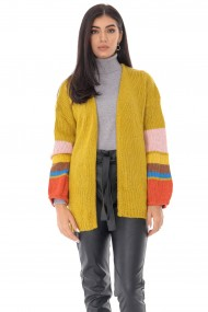 Ladies Roh Boutique oversize cardigan - ROH - contrasting stripe sleeves, mustard, BR2348 musard
