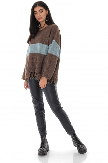 Ladies Roh Boutique oversize casual jumper - ROH - contrasting stripe, Brown , BR2350 maro