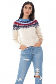 Ladies Roh Boutique seasonal jumper - ROH - fair isle weave, Cream, BR2351 crem