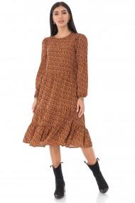 Ladies Roh Boutique tired midi Dress - ROH - micro print, multi brown, DR4230 multi-brown