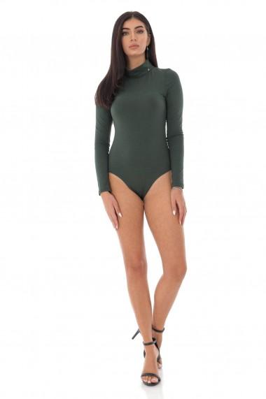 Body Roh Boutique din bumbac, ROH, verde cu guler inalt - BR2355 verde