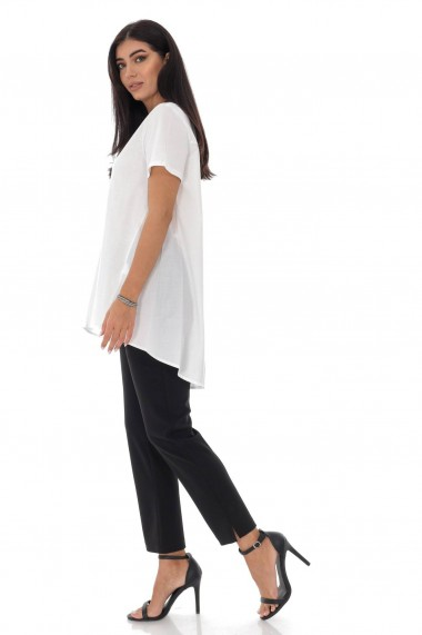 Tricou Roh Boutique de dama, ROH, alb, high-low - BR2356 alb