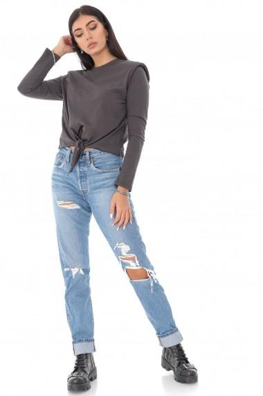 Top Roh Boutique casual, trendy, ROH, gri, cu pernute pe umeri - BR2357 gri