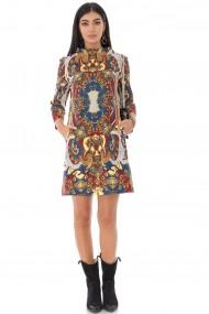 Rochie scurta Roh Boutique cu guler inalt, multicolora, ROH - DR4234 multicolor