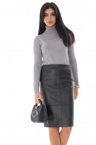 Fusta dreapta Roh Boutique stil creion, ROH, neagra, din piele - FR491 negru