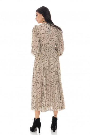 Rochie lunga Roh Boutique din chiffon, ROH, crem, cu fusta plisata - DR4235 crem