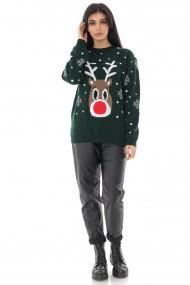Pulover Roh Boutique de dama, tricotat, ROH, verde, cu motive de Craciun - BR2364 verde