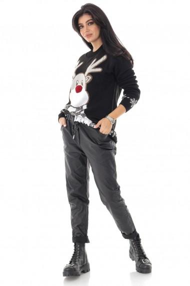 Pulover Roh Boutique de dama, oversize, ROH, negru, cu ren - BR2366 negru