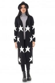 Cardigan Roh Boutique de dama, negru cu stele - ROH - BR2373 negru