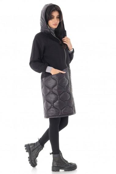 Geaca Roh Boutique de dama, casual neagra, cu gluga - ROH - JR526 negru