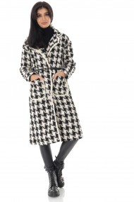Palton Roh Boutique elegant, crem/negru cu model dog tooth - ROH - JR527 crem/negru
