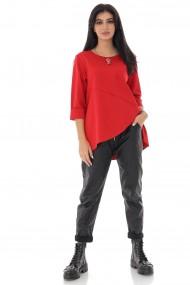 Bluza Roh Boutique dama casual, cu buzunar aplicat pe piept, rosu - ROH - BR2377 rosu