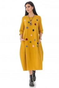 Rochie lunga Roh Boutique galbena midi, cu maneci lungi, cu buline - ROH - DR4247 yellow