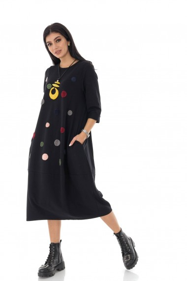 Rochie lunga Roh Boutique neagra midi, cu maneci lungi, cu buline - ROH - DR4246 negru
