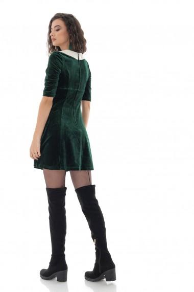 Rochie scurta Roh Boutique din catifea, Roh, verde, cu guler in contrast - DR4248 green