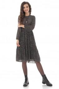 Rochie midi Roh Boutique superba din chiffon, neagra cu fusta plisata - DR4241 negru