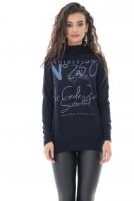 Bluza Roh Boutique cu guler inalt si inscriptii in contrast, Bleumarin - ROH - BR2379 bleumarin