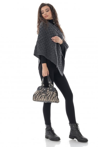 Poncho Roh Boutique superb, gri, din lana - ROH - BR2380 gri