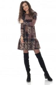 Rochie scurta Roh Boutique vintage, maro, cu imprimeu petice - ROH - DR4249 maro
