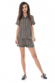 Pijama Roh Boutique de dama, scurta, Roh, negru cu imprimeu geometric - TR427 negru