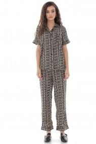 Pijama Roh Boutique de dama, set, ROH, negru, din satin - TR428 negru