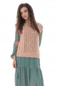 Vesta Roh Boutique de dama, tricotata, Roh, roz, cu guler inalt - BR2388 roz