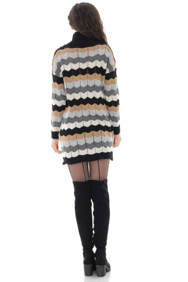 Rochie scurta Roh Boutique gen pulover, Roh, negru/gri, casual - DR4251 negru|gri